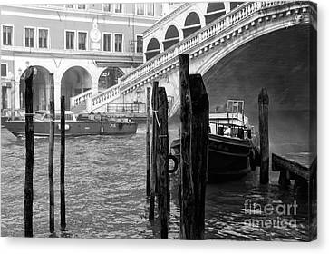 Venice Boats In The Morning Canvas Print by John Rizzuto