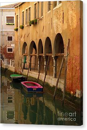 Venice Boats On Canal Canvas Print