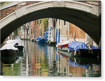 Canvas Print featuring the photograph Venice Canal Boat by Silvia Bruno