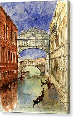 Venice Canal Bridge Of Sighs Canvas Print by Juan  Bosco