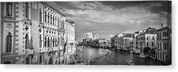 Venice Canal Grande Santa Maria Della Salute Black And White Canvas Print by Melanie Viola