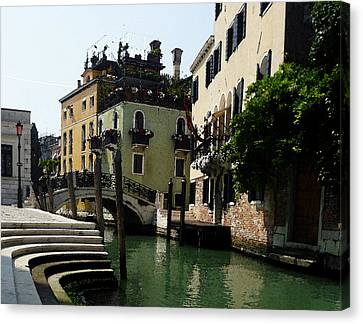 Venice Canal Summer In Italy Canvas Print