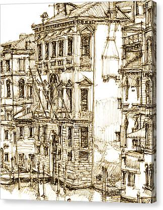 Venice Details In Sepia  Canvas Print by Adendorff Design