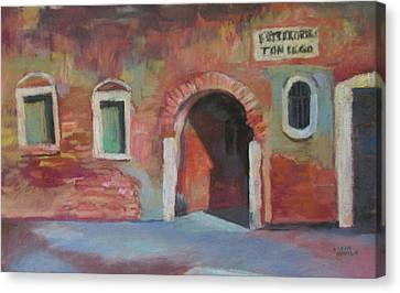 Canvas Print featuring the painting Venice Doorway by Linda Novick