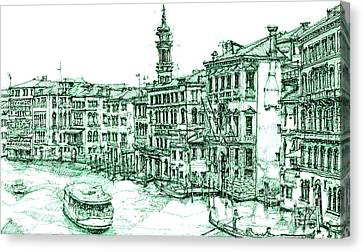 Venice Drawing In Green Canvas Print by Adendorff Design