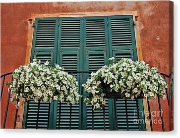 Canvas Print featuring the photograph Venice Flower Balcony 2 by Allen Beatty