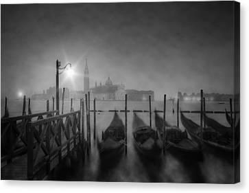 Venice Gondolas A Foggy Nightscape Canvas Print by Melanie Viola