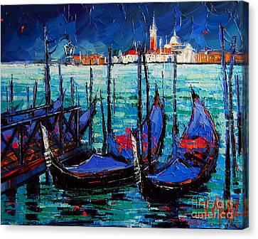 Venice Gondolas And San Giorgio Maggiore Canvas Print by Mona Edulesco