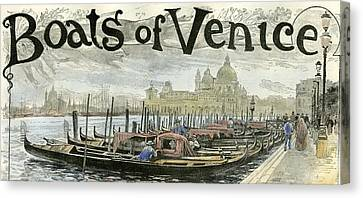 San Marco Canvas Print - Venice Gondolas At The Station Piazza San Marco 1892 by English School