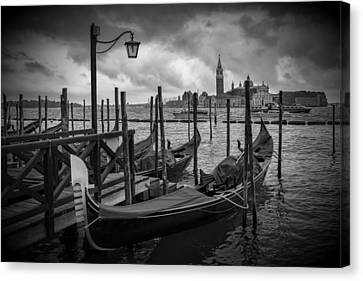 Venice Gondolas In Black And White Canvas Print by Melanie Viola