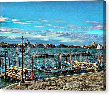 Canvas Print featuring the photograph Venice Gondolas On The Grand Canal by Kathy Churchman