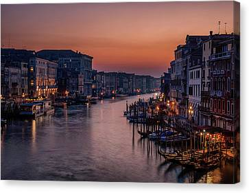 Sightseeing Canvas Print - Venice Grand Canal At Sunset by Karen Deakin