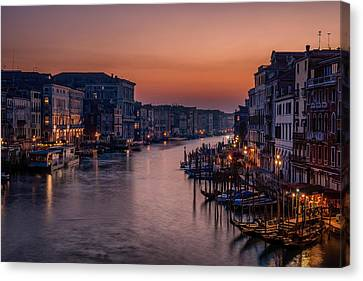 Venice Grand Canal At Sunset Canvas Print by Photography By Karen