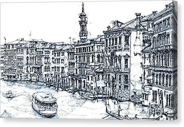 Venice Ink In Blue Canvas Print by Adendorff Design