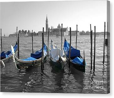 Venice Italy Boats In Black And Blue Canvas Print