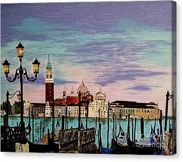Canvas Print featuring the painting Venice  Italy By Jasna Gopic by Jasna Gopic
