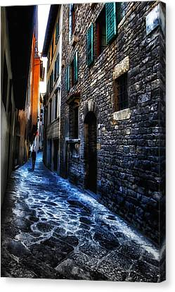 Venice Italy Silhouette - Lonely Walk Canvas Print