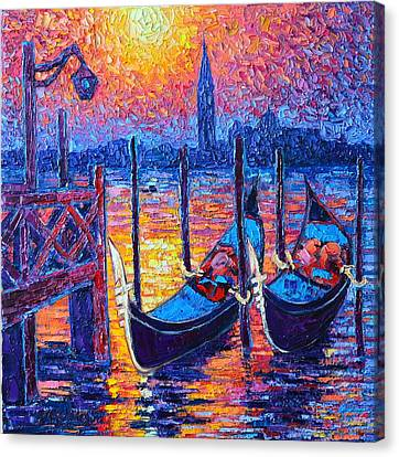 Venice Mysterious Light - Gondolas And San Giorgio Maggiore Seen From Plaza San Marco Canvas Print