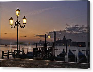 Canvas Print featuring the photograph Venice Night Lights by Marion Galt