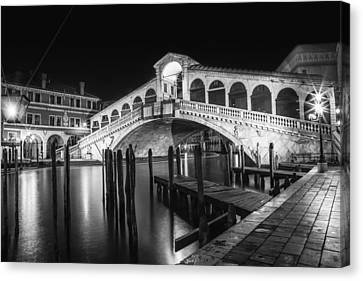 Venice Rialto Bridge At Night Black And White Canvas Print by Melanie Viola