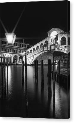 Venice Rialto Bridge At Night In Black And White Canvas Print by Melanie Viola