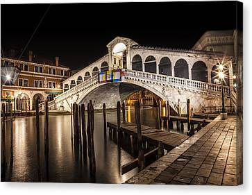 Venice Rialto Bridge At Night Canvas Print by Melanie Viola