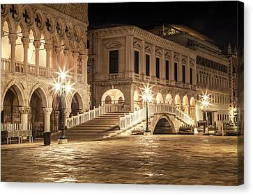 Venice Riva Degli Schiavoni At Night Canvas Print by Melanie Viola