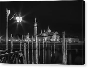 Venice San Giorgio Maggiore At Night Black And White Canvas Print by Melanie Viola