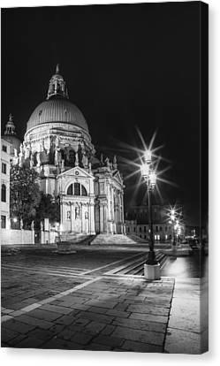 Venice Santa Maria Della Salute Black And White Canvas Print by Melanie Viola