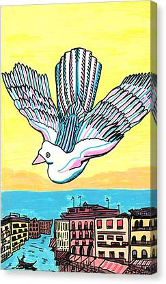 Canvas Print featuring the drawing Venice Seagull by Don Koester