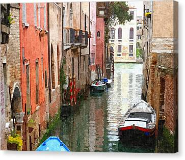 Venice Side Canal Canvas Print by Bishopston Fine Art