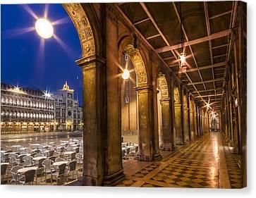 Venice St Mark's Square During Blue Hour Canvas Print by Melanie Viola