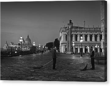 Canvas Print featuring the photograph Venice Sweepers by Marion Galt