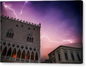 Venice Thunderstorm Over Doge's Palace Canvas Print