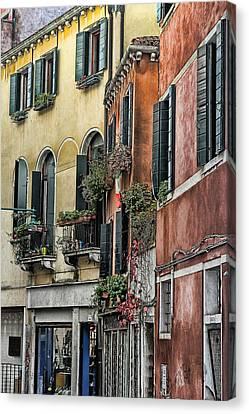 Windows In Venice  Canvas Print by Tom Prendergast