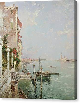 Venice View From The Zattere With San Giorgio Maggiore In The Distance Canvas Print by Franz Richard Unterberger