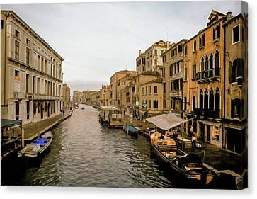 Italian Landscape Canvas Print - Venice Waterfront Marketplace by Cliff Wassmann