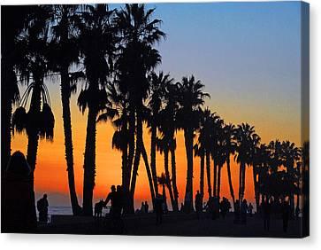 Canvas Print featuring the photograph Ventura Boardwalk Silhouettes by Lynn Bauer