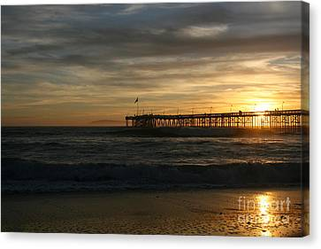 Canvas Print featuring the photograph Ventura Pier 01-10-2010 Sunset  by Ian Donley