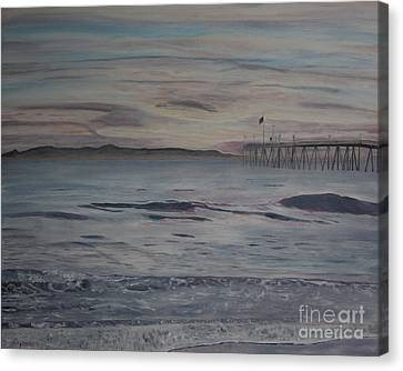 Canvas Print featuring the painting Ventura Pier High Surf by Ian Donley