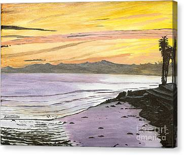Ventura Point At Sunset Canvas Print by Ian Donley