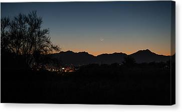 Canvas Print featuring the photograph Venus And A Young Moon Over Tucson by Dan McManus