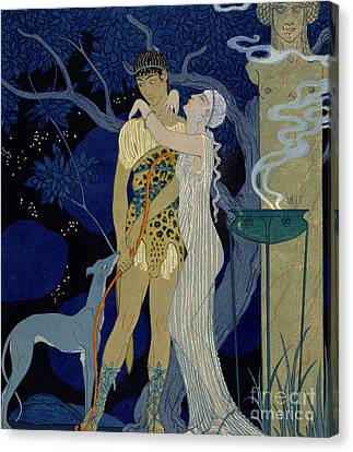 Venus And Adonis  Canvas Print by Georges Barbier