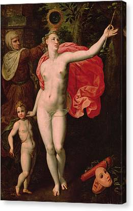 Venus And Cupid, Allegory Of The Truth Oil On Wood Canvas Print by Jacques de Backer