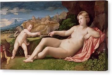 Venus And Cupid Canvas Print by Jacopo Palma