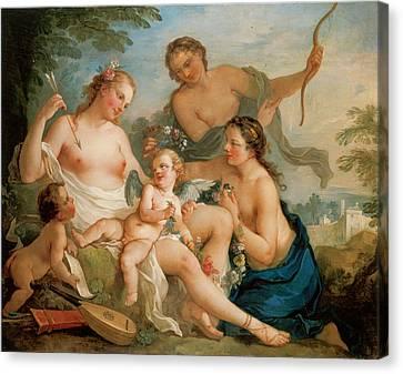 Venus And Cupid Canvas Print by Charles-Joesph Natoire