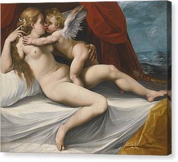 Venus And Cupid Canvas Print by Giuseppe Cesari