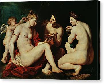 Venus, Cupid, Bacchus And Ceres Canvas Print by Peter Paul Rubens