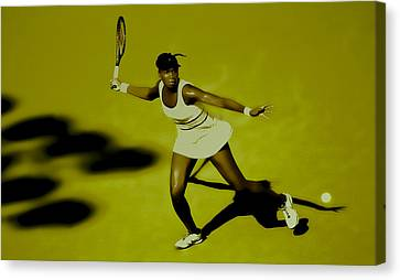 Venus Williams In Action Canvas Print by Brian Reaves