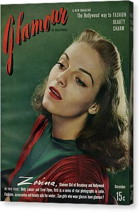 Vera Zorina On The Cover Of Glamour Canvas Print by Artist Unknown